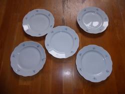 Antik Zsolnay porcelán virágmintás lapos tányér 5 db