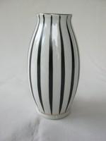 Hollóházi porcelán fekete-fehér csíkos váza
