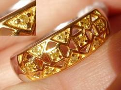 925 ezüst gyűrű gyémántokkal 18,1/56,8 mm, aranyzott