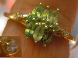 925 ezüst gyűrű, 18,6/58,4 mm, gyémánt és tsavorit, aranyozva