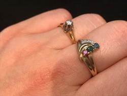 14K-os aranygyűrű gyémánt,smaragd,zafír,rubin 54-es