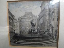 Husserl Béla akvarell - Bécs 1926.
