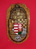 Antik jellegű kerámia fali dísz  Magyar Címer  20 X 12 cm