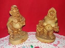 Aranyos alabástrom olasz prehisztorikus ősember család figurapár figura  egyben 15 X 9 cm / db