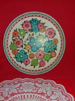 Régi lemezáru lemez festett fém tálca virágmintákkal angol átmérője: 30 cm