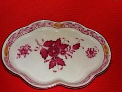 Gyönyörű Herendi porcelán vörös Apponyi mintás  porcelán tálka 13,5 X 9,5 cm