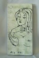 Ritka egyedi Fürtös György kerámia falikép