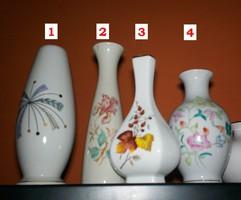 Hollóházi porcelán váza, **No.3** 6szögű hasas,12cm