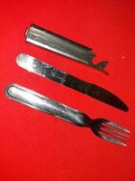 Régi ELZETT Művek kés és villa katonai készlet acélból