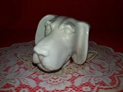 Antik 19. század Nápolyi porcelán játék kutyafej a képek szerinti állapotban 12 x12 11 cm