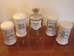 Porcelán patikai tégely nagyméretű dugós patikaüveg 5 db