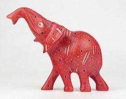 0O024 Faragott foltos zsírkő elefánt 10 cm