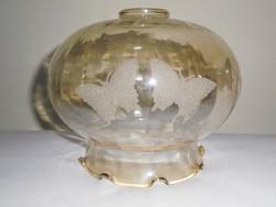 Régi csillár lámpabúra lámpabura - pillangó lepke mintás - színezett üveg