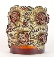0O046 Nagy méretű művészi virágos váza 20.5 cm