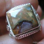 925 ezüst gyűrű, 19/59,7 mm, raingorest opál, szépséges