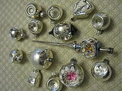 14 db régi  ezüst üveg karácsonyfadísz karácsonyfa dísz