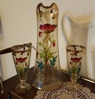 Szecessziós üveg kancsó 2 pohárral