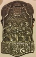 IN MEMORIAN 1914-1918 fém felvarró,hátoldalán Orsz.Hadsegélyező Bizottság Jelvény Osztálya bélyeggel