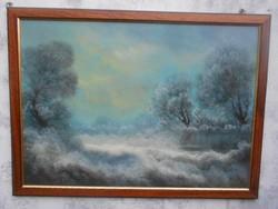 Marjai Antal(1956-)Téli erdő.Eredeti festmény.Garanciával.