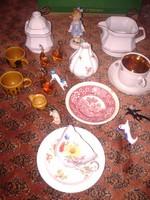 Régiségek kuriózumok csoportja antik szecessziós porcelán csészék kiöntő váza
