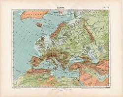 Európa hegy - és vízrajzi térkép 1906, Nagy Magyar Atlasz, eredeti, régi, magyar nyelvű, antik