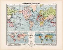 Világtérkép, Földképek 1906, Nagy Magyar Atlasz, térkép, eredeti, régi, magyar nyelvű, gyarmat