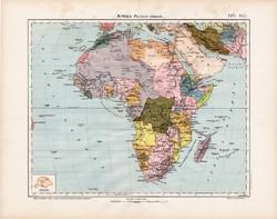 Afrika politikai térkép 1906, Nagy Magyar Atlasz, eredeti, Nagy - Magyarország, antik, politika