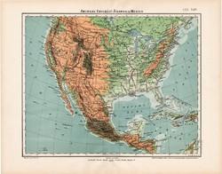 Amerikai Egyesült Államok térkép 1906, Nagy Magyar Atlasz, eredeti, antik, régi, USA, hegy, vízrajz