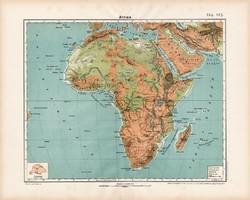 Afrika hegy- és vízrajzi térkép 1906, Nagy Magyar Atlasz, eredeti, Nagy - Magyarország, antik