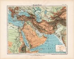 Nyugat - Ázsia hegy- és vízrajzi térkép 1906, magyar atlasz, Nagy - Magyarország, antik, eredeti