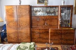 Intarziás, rózsafa hálószobabútor garnitúra az 50-es évekből