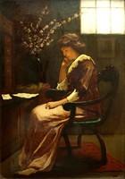 KOMÁROMI KACZ ENDRE (1880-1969): Levelet olvasó lány