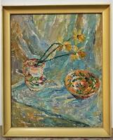 Gy. Fehér Etelka ( Gyelmis Lukácsné) (1921-) Csendélet Képcsarnokos olajfestménye Eredeti Garancia!