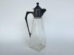 Szecessziós nagyméretű karaffa régi üveg kiöntő