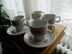 Retro hollóházi apróvirágmintás csésze készlet 4 fős