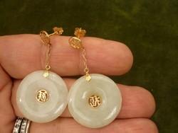 Kínai jade fülbevaló arany montírozással