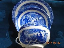 Tojáshéj porcelán Kobaltkék Japán kert pagodákkal minta teás reggeliző készlet-(1)