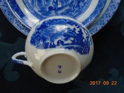 Tojáshéj porcelán Kobaltkék Japán kert pagodákkal minta teás reggeliző készlet(3 )