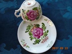 ANTIK-August Warnecke-1925-OSTFRIESEN ROSE-japán jelzéssel-kézzel festett bordázott csésze alátéttel