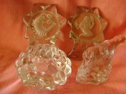 4 db igen súlyos francia kristályüvegből készült dísztárgyak