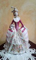 Hollóházi Barokk ruhás nő kézzel festett