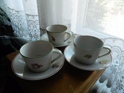 Régi hollóházi 3 személyes kávés csésze készlet