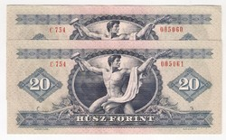 1975. 20 forint 2x S.K. UNC!