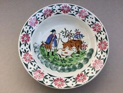 Antik fali tányér Wilhelmsburgi fajansz marhapásztor gulyás