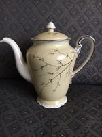 Bakos Éva kézzel festett porcelán kanna, platinával festett