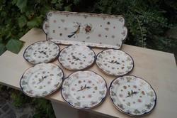 Zsolnay Főnix madaras süteményes készlet 6 személyre