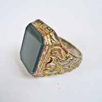 Aranyozott zöld köves ezüst pecsétgyűrű