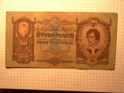 Ritka felülbélyegzéssel !! 50 pengő 1932 !!