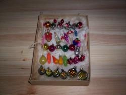 Régi miniatűr karácsonyi díszek, 38 db.