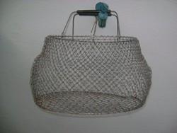 Retro fém hálós bevásárló kosár - összecsukható